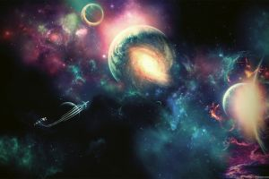 moon space art space digital art universe planet