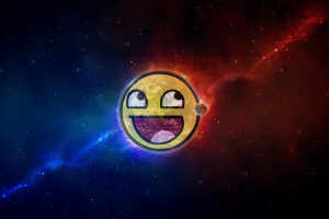 moon space earth awesome face smiley digital art planet