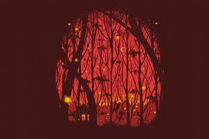 moonlight moon children forest house