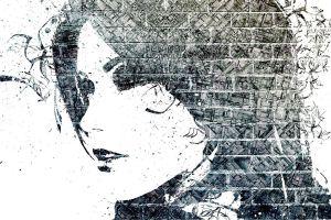 mosaic alex cherry paint splatter abstract women artwork monochrome graffiti face