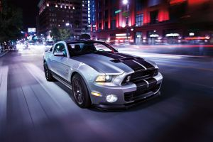 motion blur car gray ford mustang shelby gt