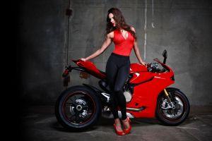 motorcycle superbike red heels  women with bikes high heels ducati 1199 yoga pants tight clothing