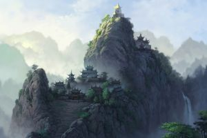 mountains artwork temple fantasy art
