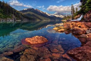 mountains canada water landscape nature reflection
