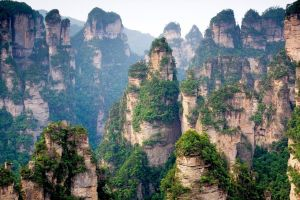 mountains china trees clouds