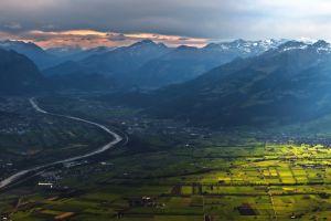 mountains clouds landscape field