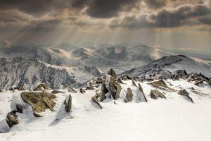 mountains clouds snow winter landscape nature