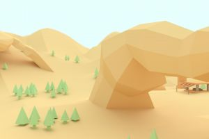mountains digital art trees low poly