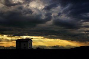 mountains landscape clouds house sky