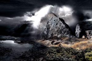 mountains landscape digital art rock