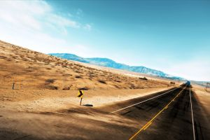 mountains landscape long road road desert