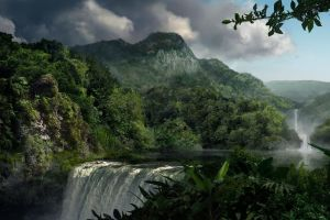 mountains landscape river waterfall forest nature