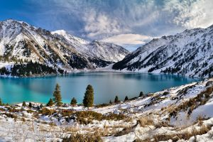 mountains landscape sky nature winter lake kazakhstan