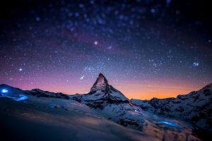 mountains matterhorn skyscape snowy peak sky stars