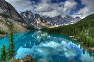mountains moraine lake canada reflection hdr lake landscape clouds nature sky forest trees