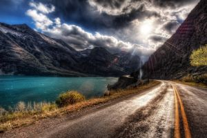 mountains nature lake road landscape sky