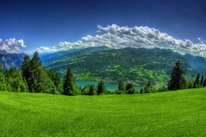 mountains panorama sky nature trees fisheye lens landscape
