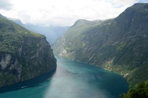 mountains river water geiranger landscape hills stranda nature