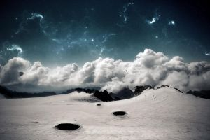 mountains stars snow sky nature landscape space art clouds winter digital art