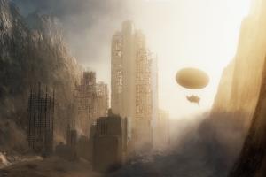 mountains sunlight aircraft ruin fantasy art apocalyptic destruction city