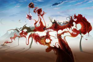 mountains surreal castle shadow artwork david fuhrer bubbles