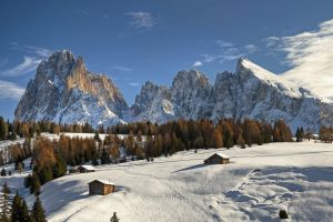 mountains trees winter landscape cabin seiser alm nature sky snow