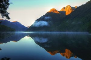mountains water drops landscape reflection sunlight nature