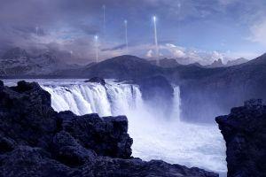 mountains waterfall artwork futuristic rock fantasy art andree wallin water concept art landscape