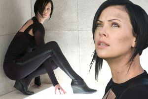 movies charlize theron aeon flux dark hair women leggings
