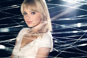 movies red lipstick spider-man blonde looking at viewer green eyes the amazing spider-man women emma stone actress