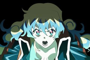 multicolored hair  tengen toppa gurren lagann open mouth symbol-shaped pupils teppelin nia long hair black background