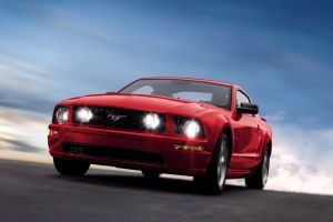 muscle cars red cars ford mustang
