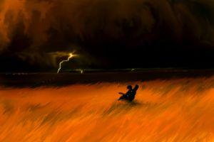 musician lightning artwork sad guitar storm