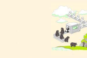 nature artwork humor animals bears minimalism clouds simple simple background digital art
