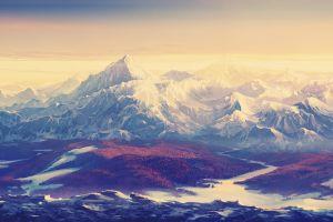 nature artwork landscape snow mountains painting