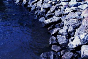 nature blue water rocks stones