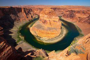 nature canyon horseshoe bend usa landscape rock river