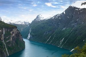 nature canyon river landscape snow norway ice mountains