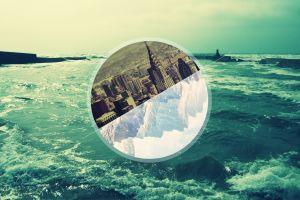 nature circle sea digital art landscape
