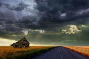 nature clouds sky ruin landscape field road