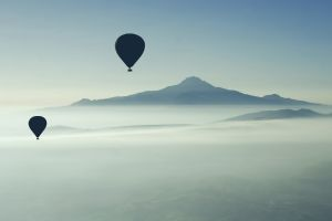 nature hot air balloons mountains landscape