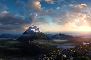 nature ice mountains landscape clouds