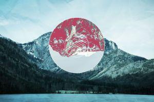 nature lake circle mountains polyscape digital art