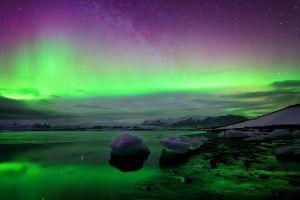 nature lake ice norway sky winter aurorae