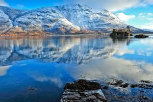 nature lake reflection mountains landscape