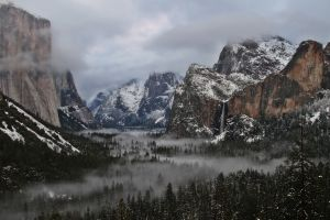 nature landscape mountains forest mist