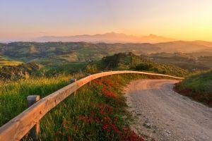 nature landscape road hills sunlight