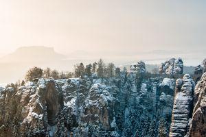nature landscape snow winter bridge rock