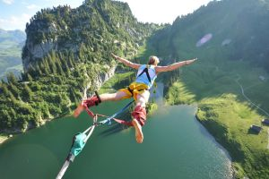 nature men mountains trees water jumping sports men outdoors