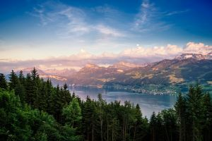 nature mountains trees sunset landscape switzerland clouds forest summer dominic kamp city lake